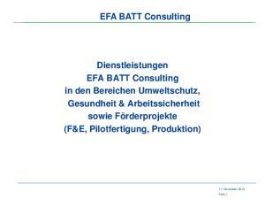EFA BATT Consulting. Dienstleistungen. EFA BATT Consulting