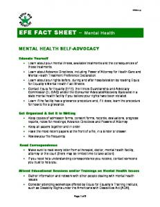 EFE FACT SHEET Mental Health