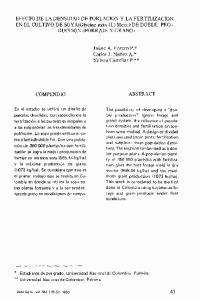 EFECTO DE LA DENSIDAD DE POBLACION y LA FERTILIZACION EN EL CULTIVO DE SOYA(Glycine max (L) Merr.) DE DOBLE PRO- DUCCION (FORRAJE y GRANO)