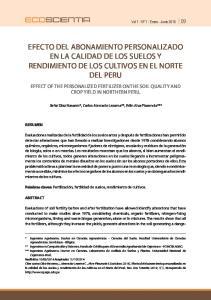 EFECTO DEL ABONAMIENTO PERSONALIZADO EN LA CALIDAD DE LOS SUELOS Y RENDIMIENTO DE LOS CULTIVOS EN EL NORTE DEL PERU