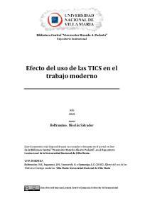 Efecto del uso de las TICS en el trabajo moderno