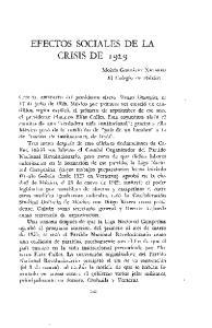 EFECTOS SOCIALES DE LA CRISIS DE 1929