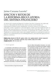 EFECTOS Y RETOS DE LA REFORMA REGULATORIA DEL SISTEMA FINANCIERO