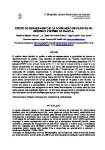 EFEITO DO ESPAÇAMENTO E DA POPULAÇÃO DE PLANTAS NO DESENVOLVIMENTO DA CANOLA