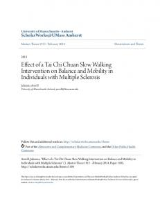 Effect of a Tai Chi Chuan Slow Walking Intervention on Balance and Mobility in Individuals with Multiple Sclerosis