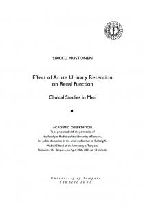 Effect of Acute Urinary Retention on Renal Function