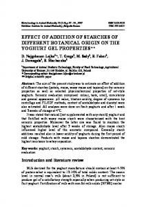 EFFECT OF ADDITION OF STARCHES OF DIFFERENT BOTANICAL ORIGIN ON THE YOGHURT GEL PROPERTIES**