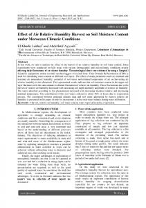 Effect of Air Relative Humidity Harvest on Soil Moisture Content under Moroccan Climatic Conditions