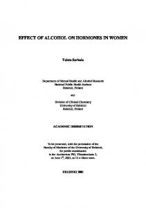 EFFECT OF ALCOHOL ON HORMONES IN WOMEN