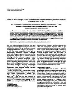 Effect of Aloe vera gel extract on antioxidant enzymes and azoxymethane-induced oxidative stress in rats