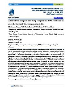 Effect of bio compost, cow dung compost and NPK fertilizers on growth, yield and yield components of chili
