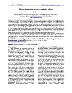 Effect of climate change on evapotranspiration in Egypt