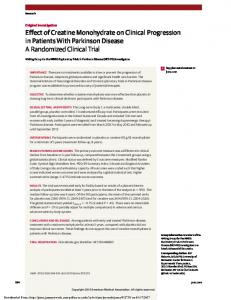 Effect of Creatine Monohydrate on Clinical Progression in Patients With Parkinson Disease A Randomized Clinical Trial