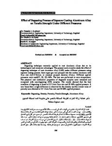 Effect of Degassing Process of Squeeze Casting Aluminum Alloy on Tensile Strength Under Different Pressures