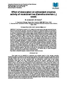 Effect of desiccation on antioxidant enzymes activity of recalcitrant tea (Camellia sinensis L.) seeds