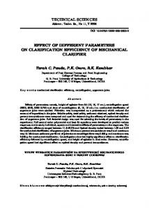 EFFECT OF DIFFERENT PARAMETERS ON CLARIFICATION EFFICIENCY OF MECHANICAL CLARIFIER