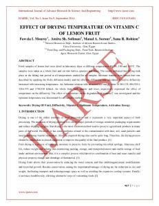 EFFECT OF DRYING TEMPERATURE ON VITAMIN C OF LEMON FRUIT