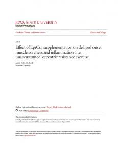 Effect of EpiCor supplementation on delayed onset muscle soreness and inflammation after unaccustomed, eccentric resistance exercise