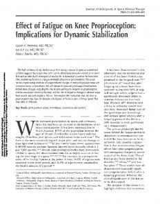 Effect of Fatigue on Knee Proprioception: Implications for Dynamic Stabilization