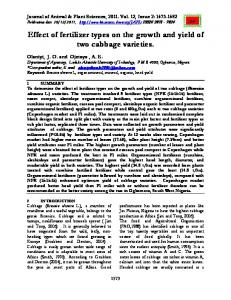 Effect of fertilizer types on the growth and yield of two cabbage varieties