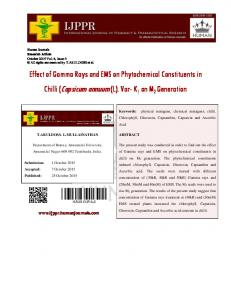 Effect of Gamma Rays and EMS on Phytochemical Constituents in Chilli (Capsicum annuum (L). Var- K 1 on M 2 Generation