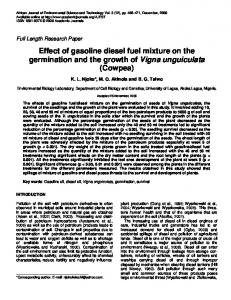 Effect of gasoline diesel fuel mixture on the germination and the growth of Vigna unguiculata (Cowpea)
