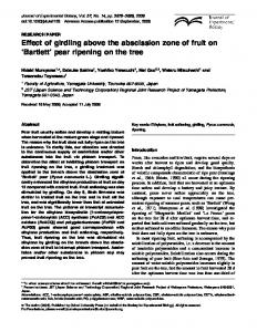 Effect of girdling above the abscission zone of fruit on Bartlett pear ripening on the tree
