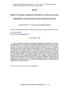 EFFECT OF HEAT STRESS IN TROPICAL LIVESTOCK AND DIFFERENT STRATEGIES FOR ITS AMELIORATION