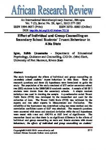 Effect of Individual and Group Counselling on Secondary School Students Truant Behaviour in Abia State