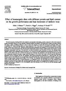Effect of isoenergetic diets with different protein and lipid content on the growth performance and heat increment of rainbow trout