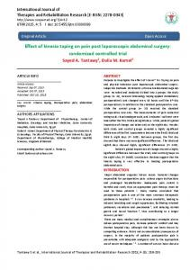 Effect of kinesio taping on pain post laporoscopic abdominal surgery: randomized controlled trial