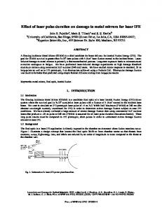 Effect of laser pulse duration on damage to metal mirrors for laser IFE ABSTRACT 1. INTRODUCTION