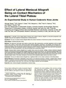 Effect of Lateral Meniscal Allograft Sizing on Contact Mechanics of the Lateral Tibial Plateau