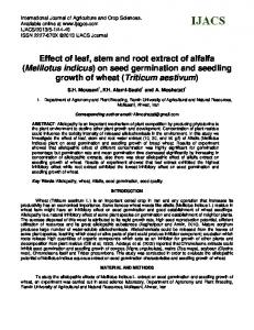 Effect of leaf, stem and root extract of alfalfa (Melilotus indicus) on seed germination and seedling growth of wheat (Triticum aestivum)