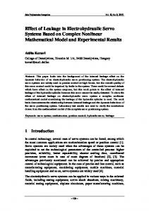 Effect of Leakage in Electrohydraulic Servo Systems Based on Complex Nonlinear Mathematical Model and Experimental Results