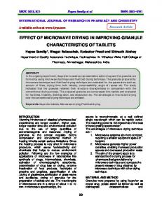 EFFECT OF MICROWAVE DRYING IN IMPROVING GRANULE CHARACTERISTICS OF TABLETS