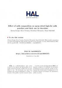 Effect of milk composition on spray-dried high-fat milk powders and their use in chocolate