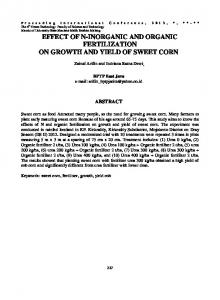EFFECT OF N-INORGANIC AND ORGANIC FERTILIZATION ON GROWTH AND YIELD OF SWEET CORN