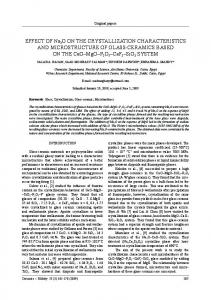 EFFECT OF Na 2 O ON THE CRYSTALLIZATION CHARACTERISTICS AND MICROSTRUCTURE OF GLASS-CERAMICS BASED ON THE CaO MgO P 2 O 5 CaF 2 SiO 2 SYSTEM