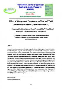 Effect of Nitrogen and Phosphorus on Yield and Yield Components of Sesame (Sesamumindicum L.)