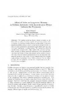 Effect of Noise on Long-term Memory in Cellular Automata with Asynchronous Delays. between the Processors