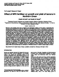 Effect of NPK fertilizer on growth and yield of banana in Northern Oman