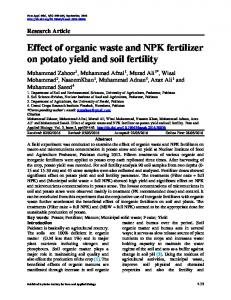 Effect of organic waste and NPK fertilizer on potato yield and soil fertility