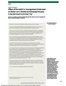 Effect of Permethrin Impregnated Underwear on Body Lice in Sheltered Homeless Persons A Randomized Controlled Trial