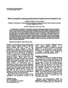 Effect of propofol in altering pentylenetetrazol induced seizure threshold in rats