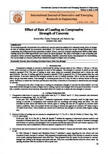 Effect of Rate of Loading on Compressive Strength of Concrete