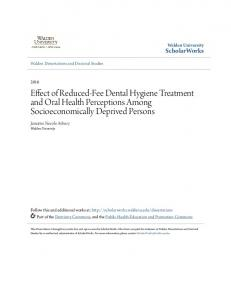 Effect of Reduced-Fee Dental Hygiene Treatment and Oral Health Perceptions Among Socioeconomically Deprived Persons