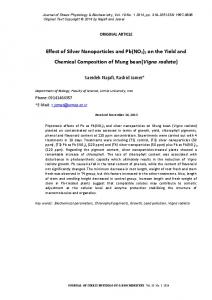 Effect of Silver Nanoparticles and Pb(NO 3 ) 2 on the Yield and Chemical Composition of Mung bean(vigna radiata)