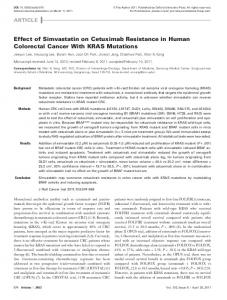 Effect of Simvastatin on Cetuximab Resistance in Human Colorectal Cancer With KRAS Mutations