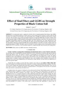 Effect of Sisal Fibers and GGBS on Strength Properties of Black Cotton Soil